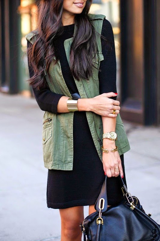 Wearing a Military Vest with Black Dress and Gold Accessories