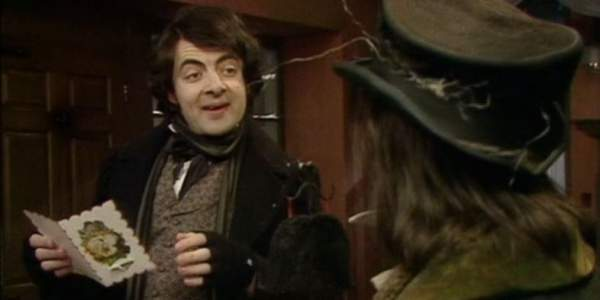 Rowan Atkinson and Tony Robinson in Blackadder's Christmas Carol