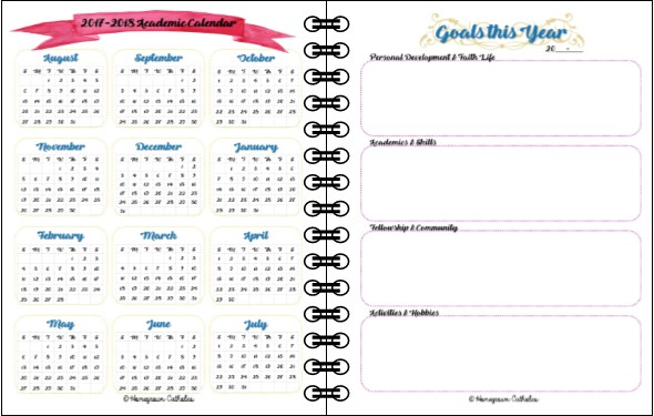 Homegrown Catholics Relaxed Home Education Planner - sample academic calendar