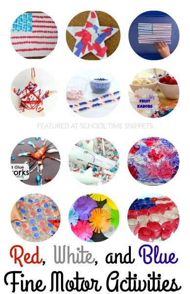 Enjoy all things red, white, and blue with your little ones by creating festive fine motor crafts for the 4th of July!