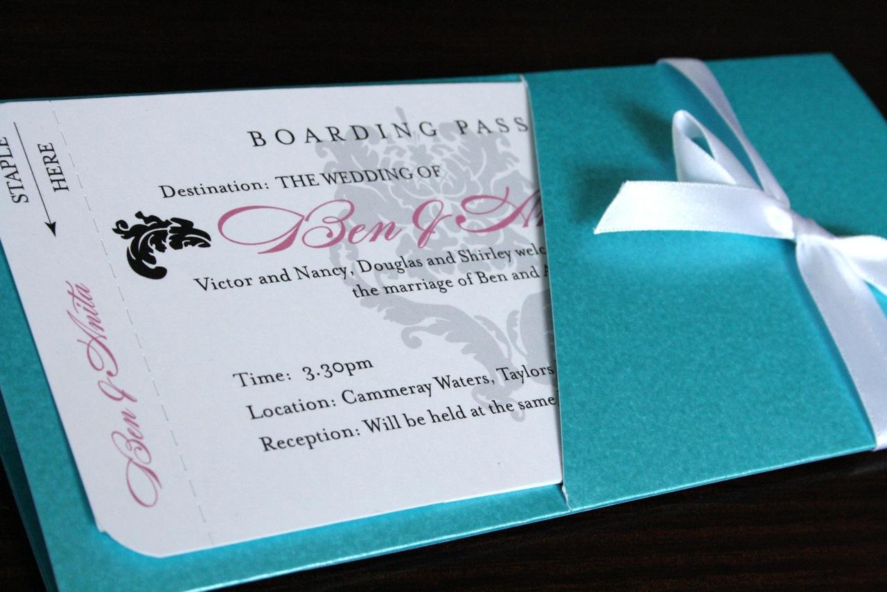 purple wedding invitations  boarding pass wedding invitations