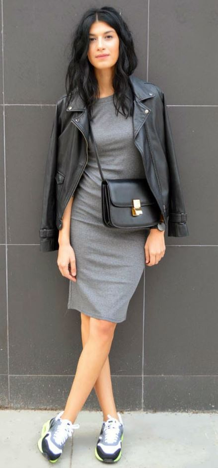 casual style addict / leather jacket + bag + sneakers + grey dress