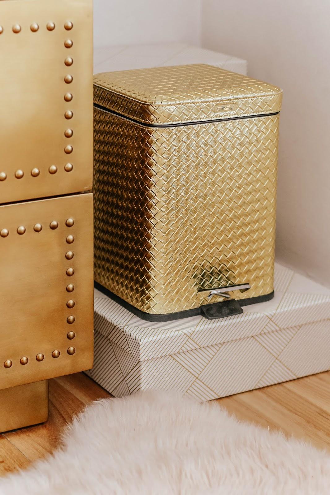 Homeware gold textured pedal bin