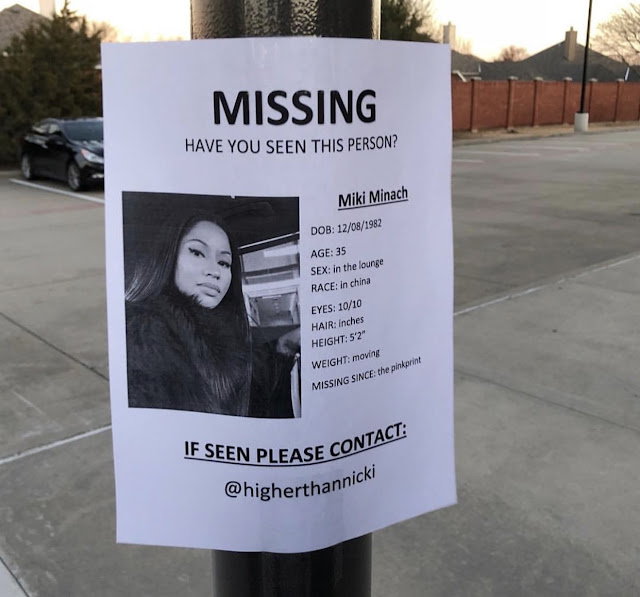 Lol.. Nicky Minaj declared missing by her fans... See why