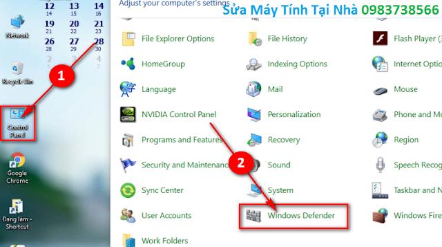 Bật chương trình Windows Defender