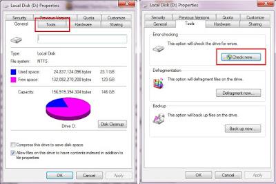 Klik Tools lalu klik Check now pada opsi Eror-checking.