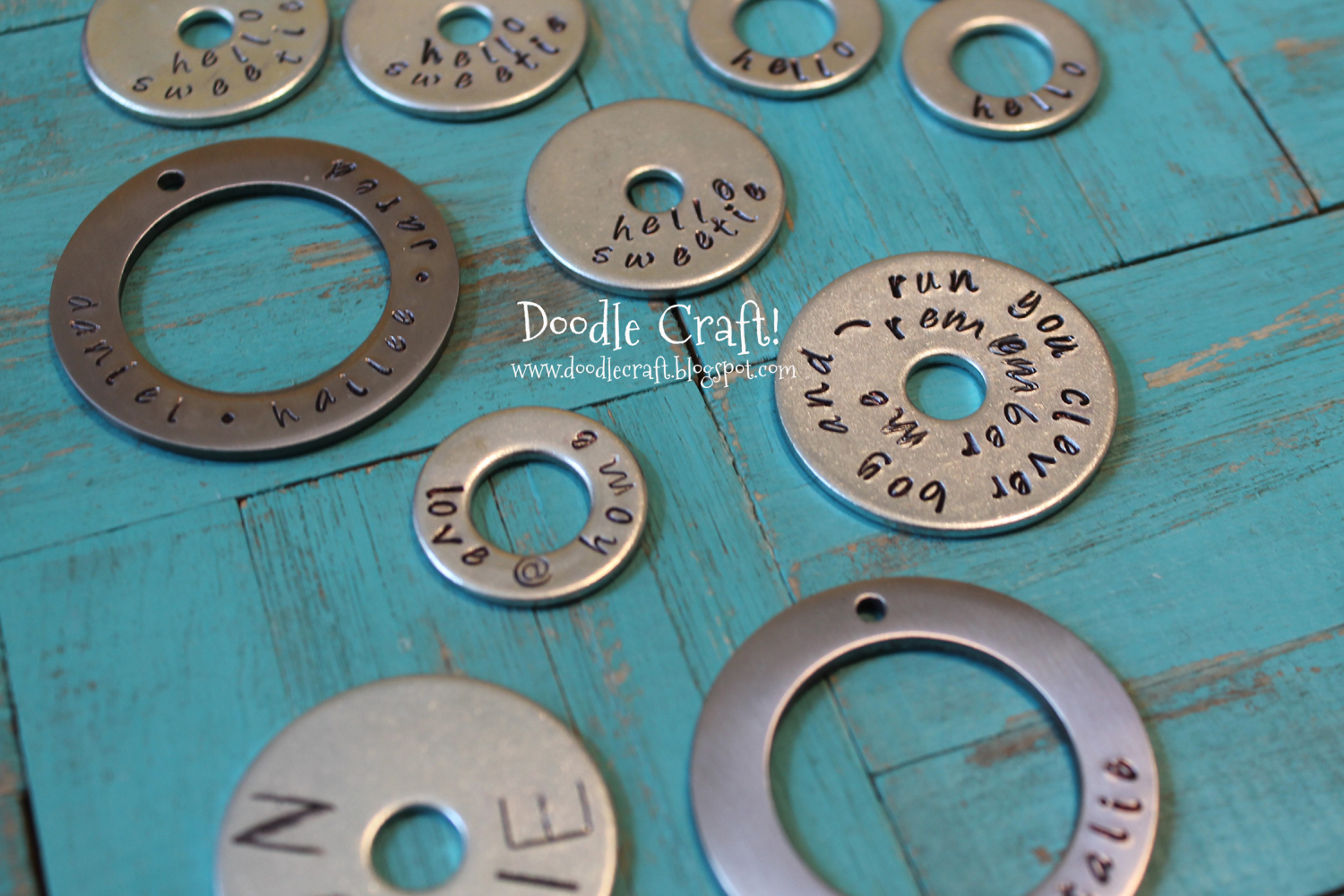 Doodlecraft Handstamped Washer Necklaces