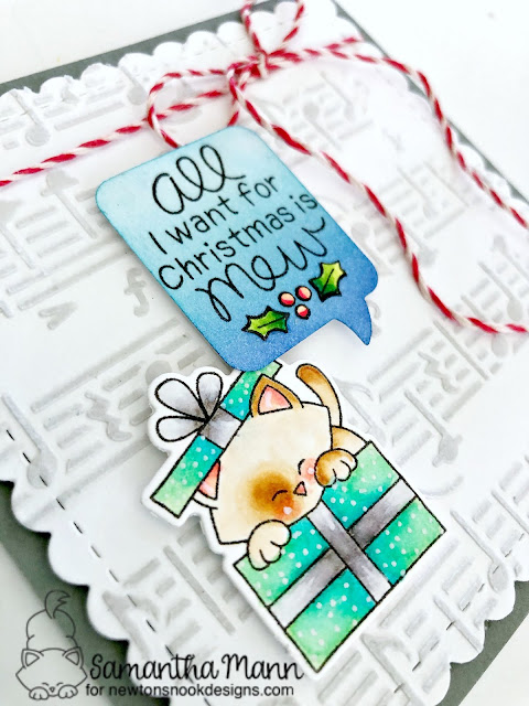 All I Want for Chrismtas is Mew Card by Samantha Mann for Newton's Nook Designs, Christmas, cards, stencil, embossing paste, twine, #newtonsnook #christmas #cards #stencil