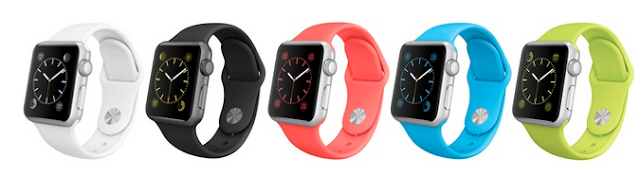 White Background Image Showing All Apple Watch Band Colors