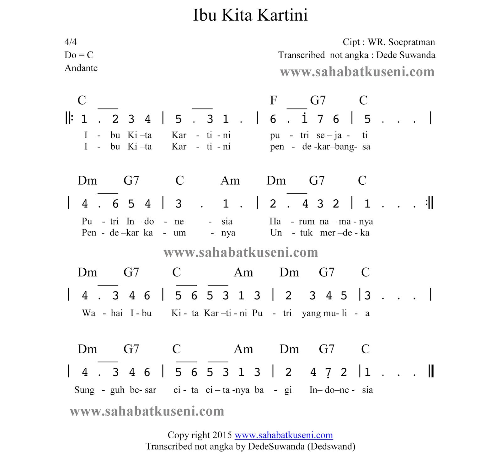 Chord Ibu Kita Kartini | nina bobo purwoudiutomo com, not