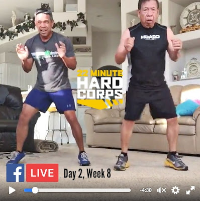 Day 2 Week Eight 22 Minute Hard Corps, 22 Minute Hard Corps Cardio 3 and Core 2 Workout, Facebook LIVE Workout, Free Beachbody Coaching