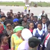 Video: Drama at Akwa Ibom airport as first lady of the state and the former first lady struggle for who would welcome Aisha Buhari