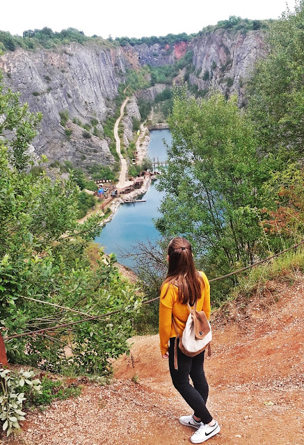 Girl by the Czech Grand Canyon/ Velka Amerika in summer, sunny day