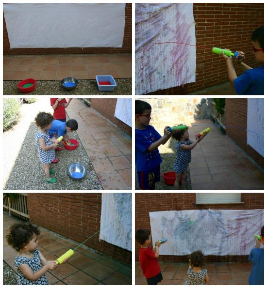 Manualidad infantil, pintar con pistolas de agua