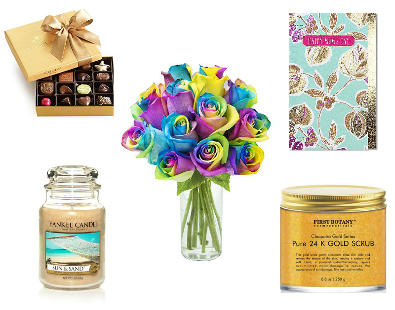 a pictures of chocolates, a candle, flowers and gifts for mom