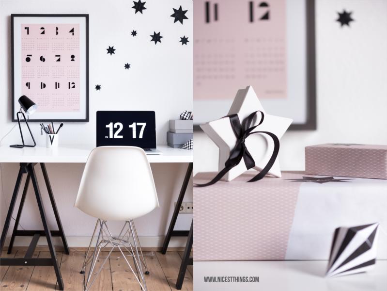 Weihnachtsgeschenke verpacken schlicht schwarz weiß rosa