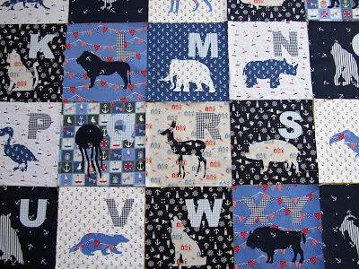 quilt blue white red animal alphabet