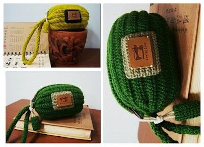 Bolso Cilíndrico con cremallera de un trozo de Crochet