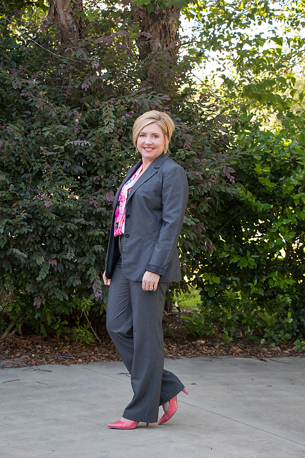 coral pumps, grey suit, womens office fashion