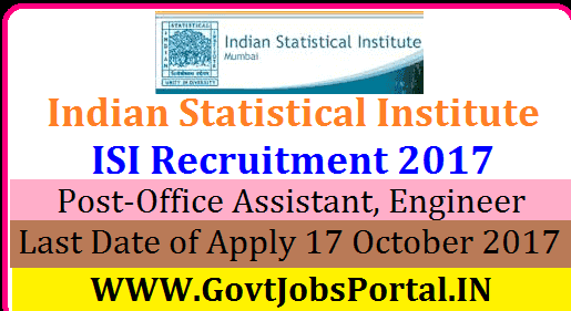 Indian Statistical Institute Recruitment 2017-Office Assistant ...
