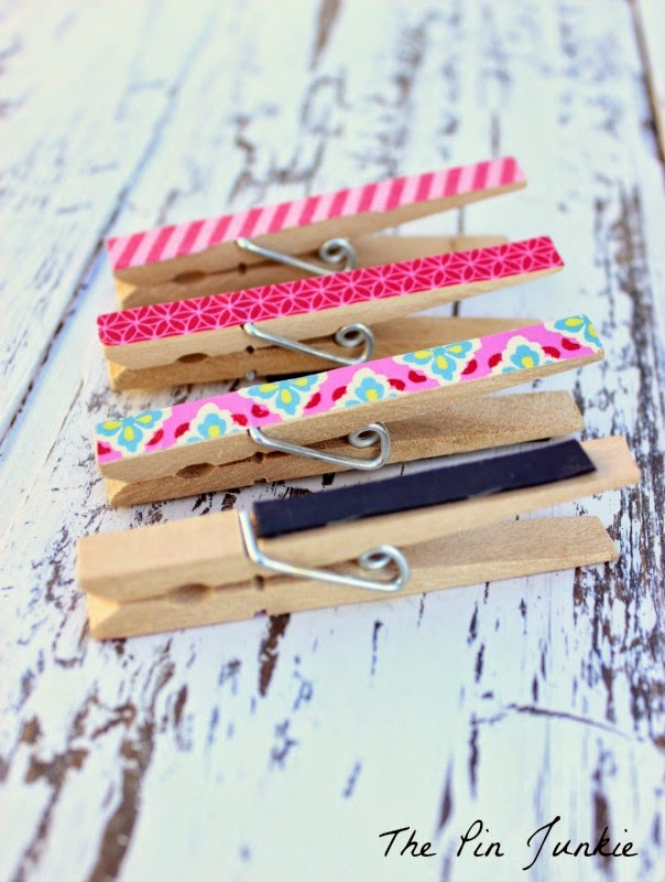 Washi Tape Clothespins with magnets