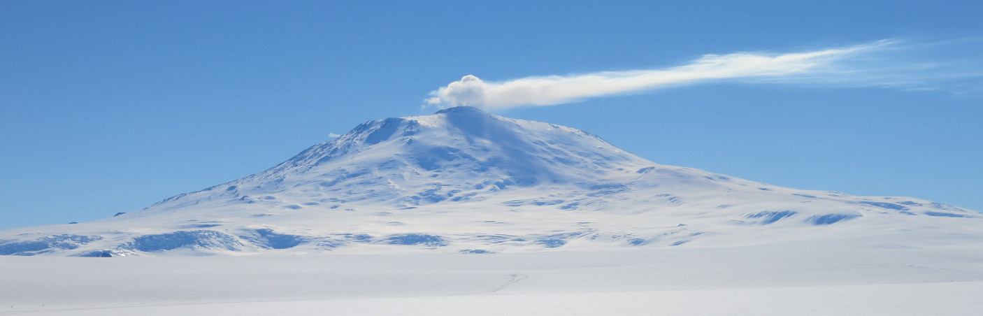 Erebus mountain on Ross Island Erupting Smoke and Steam