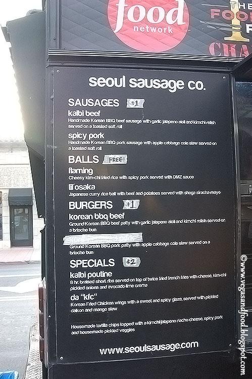Seoul Sausage Food Truck Menu