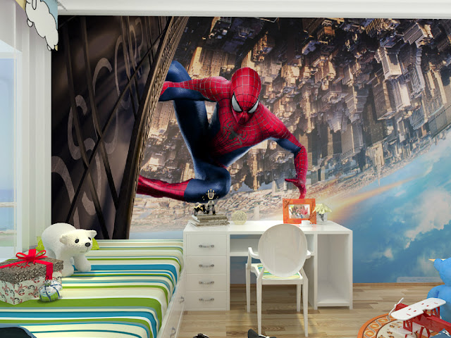 spiderman wall mural kids room boy children murals marvel wallpaper bedroom