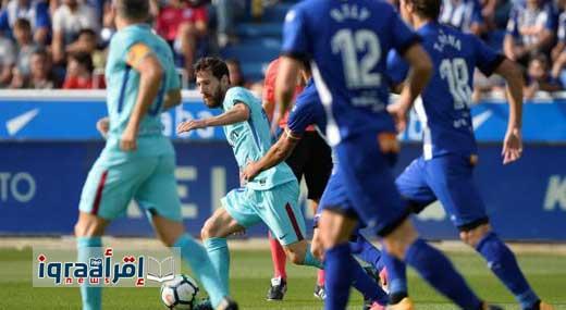 ملخص نتيجة مباراة برشلونة وديبورتيفو ألافيس 2 / 0 اليوم ميسي يقود برشلونة للفوز فى الدوري الاسباني