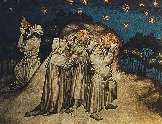 Ilustração artística de antigos babilônios examinando o céu