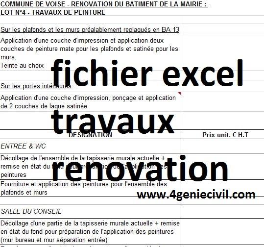 Exemple de devis quantitatif de travaux de rénovation en ...