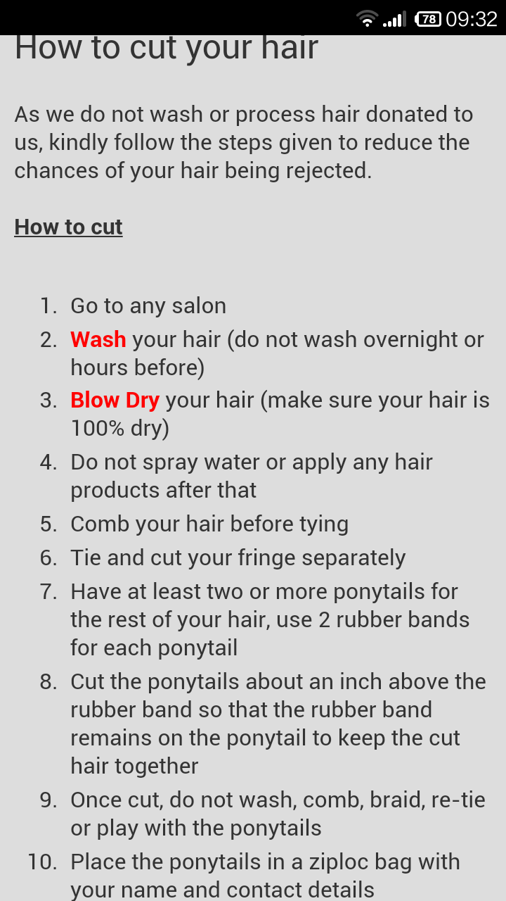 recycle your hair: How not to have your donation rejected