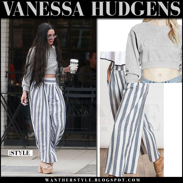 Vanessa Hudgens in grey cropped guess sweatshirt and striped misa pants what she wore mach 2017