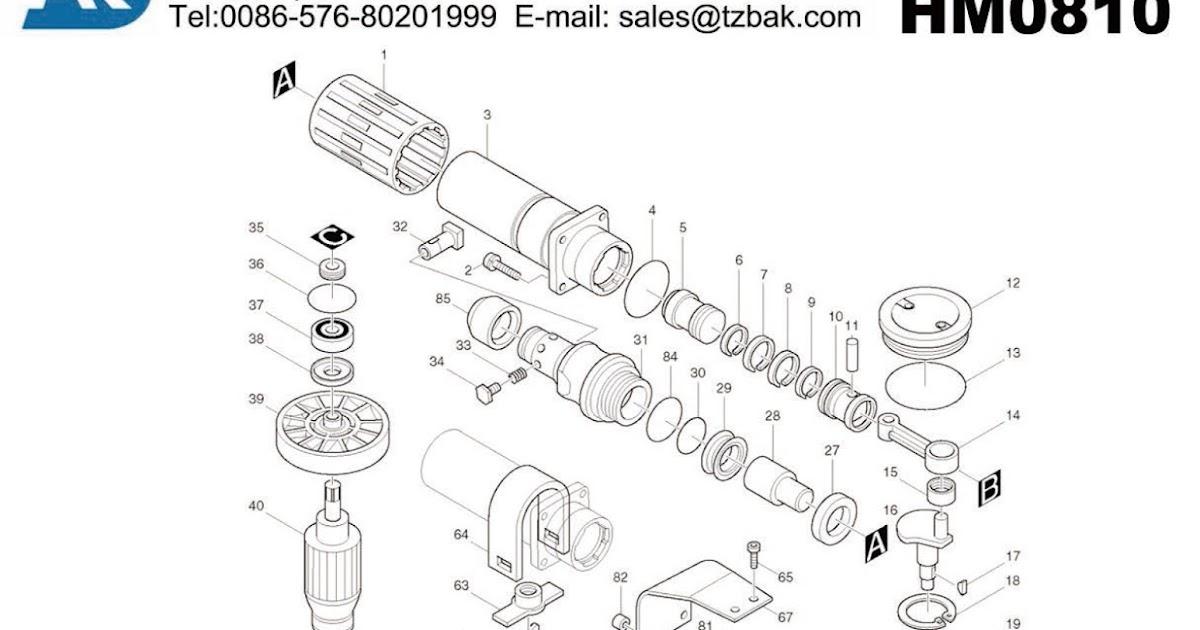 BakParts: Power Tool Exploded Drawing MAKITA HM0810 ,Power
