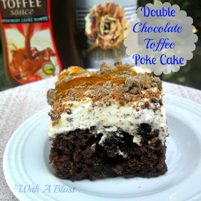 Double Chocolate Toffee Poke Cake - gooey delight !    #chocolate #cake #pokecake #chocolatecake #toffeefilledcake via:withablast.blogspot.com
