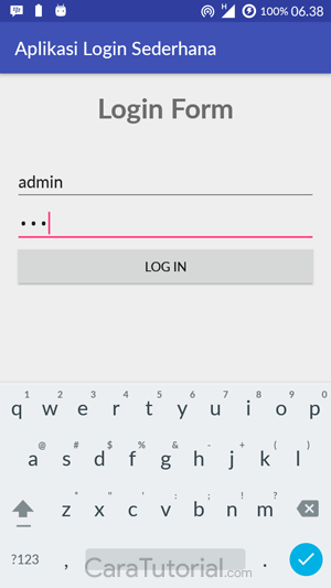 Demo Aplikasi Login Form Sederhana Android Studio