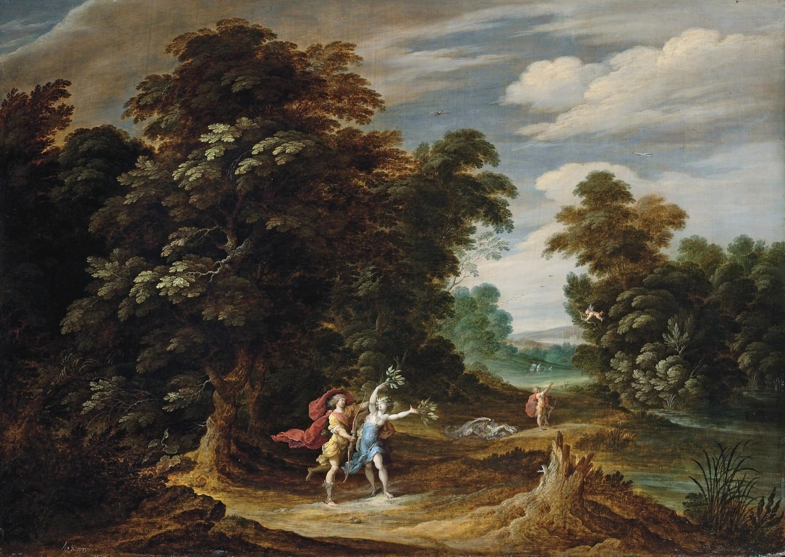 Обои картина, Лесной Пейзаж с Оленьей Охотой, Ян Брейгель старший. Разное foto 18
