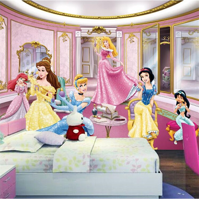 Childrens wall murals kids room Photo Wallpaper 3D Princess Castle Bedroom Decoration Baby Girl Room Wall Mural Disney Princesses
