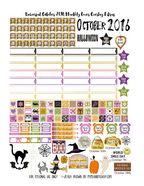 October 2016 Extra's for the Monthly Cover Overlays on myplannerenvy.com