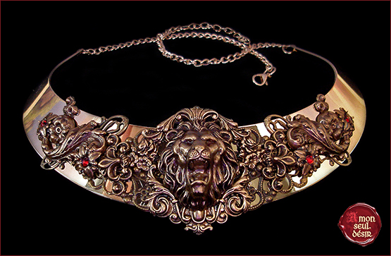 collier lion Cersei Lannister Reine des Sept Couronnes Game of Thrones Necklace Queen of Seven Kingdoms Jewelry medieval renaissance fair Leo
