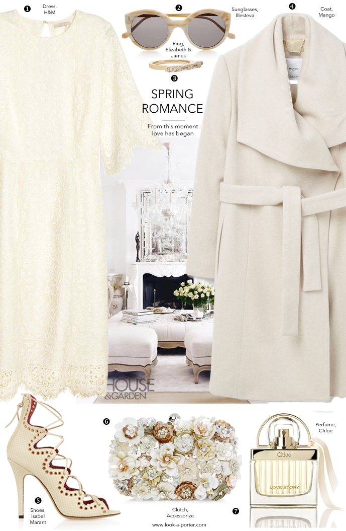 Styling a budget-friendly wedding look, lace dress, white coat via www.look-a-porter.com