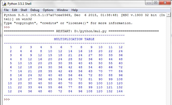 Free Programming Source Codes To All Multiplication Table In Python