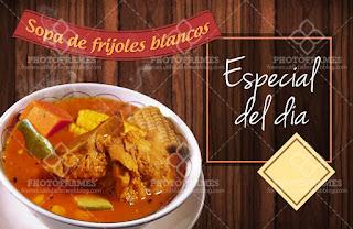 plantilla banner menu comida restaurante sopa de frijoles blanco con hueso social media