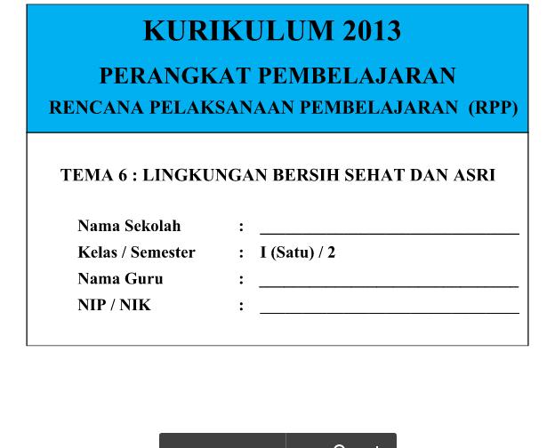 RPP Kurikulum 2013 SD Kelas 1 Tema 6