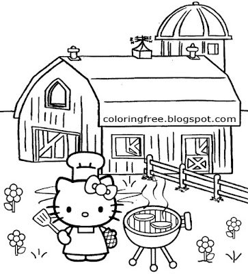 Countryside outdoor farmyard BBQ cooking Hello Kitty coloring activities for teenage girls to enjoy