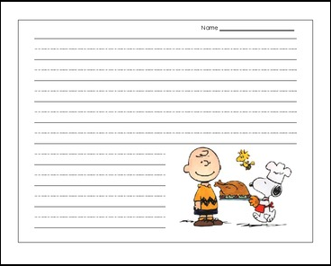 Charlie brown thanksgiving writing activity for first grade