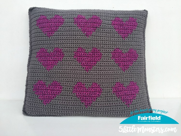 5 Little Monsters Colorwork Hearts Pillow