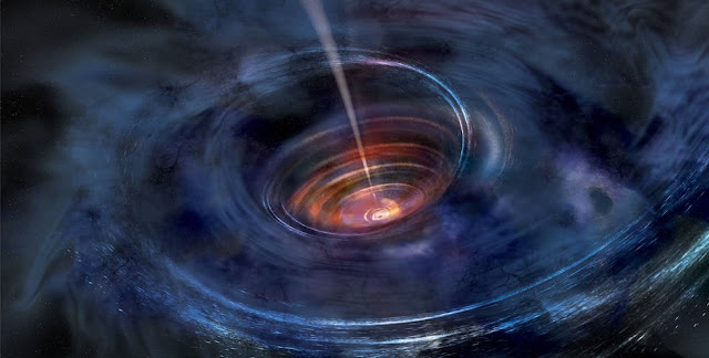 In this artist's rendering, a thick accretion disk has formed around a supermassive black hole following the tidal disruption of a star that wandered too close. Stellar debris has fallen toward the black hole and collected into a thick chaotic disk of hot gas. Flashes of X-ray light near the center of the disk result in light echoes that allow astronomers to map the structure of the funnel-like flow, revealing for the first time strong gravity effects around a normally quiescent black hole. Credits: NASA/Swift/Aurore Simonnet, Sonoma State University