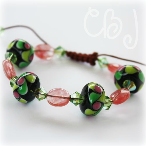 9646a099cf9 I currently beaded some silk cord bracelets using glass lampwork beads and swarovski  crystals. Bracelets are on sale for $12.50 for the lampwork & swarovski ...