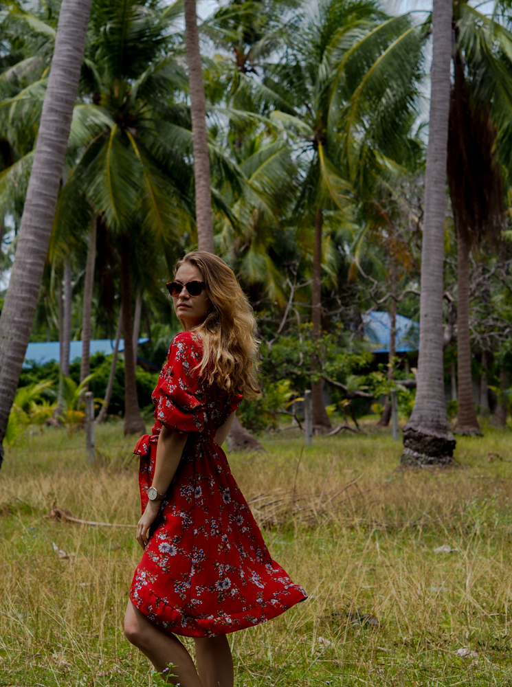 palm trees and red dress